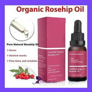 Rosehip Oil Certified Organic Skin Essential Oil Pure & Natural Best Facial Oil