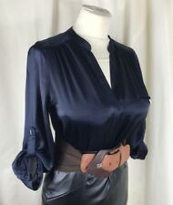 "Black High Shine Satin Blouse Size 10 38"" Chest Secretary Mistress TV CD B154"