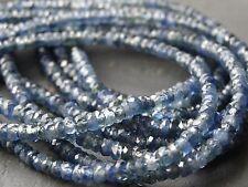 """42cts Mano facetada de zafiro azul rondelles, tapers de 2.3 mm - 4,1 mm, collar 15,75 """""""
