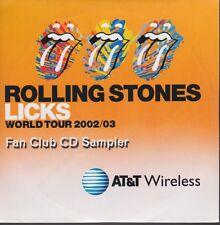 Roling Stones Licks 2002/3 World Tour Fan Club CD Sampler Still Sealed USA