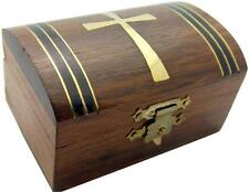 "MRT Wooden Rosary Keepsake Box Wood w Cross Holy Catholic Gift 3"" L x 1.5"" H"