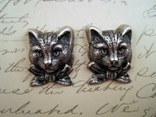 Oxidized Silver Plated Cat Head Stampings (2) -SOFF1222 Jewelry Finding