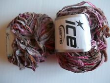 ICE Yarns Nordic Wool textured ribbon yarn, mauve/tan, lot of 2 (60 yds each)
