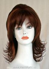 Light Ginger/Medium & Dark Auburn Med-length Layered Full Wig w/Flips & Bangs.