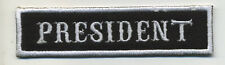 president patch badge car club motorcycle biker MC vest jacket black white