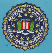 "DEPARTMENT OF JUSTICE  FBI SEAL  GOLD  POLICE   PATCH  ( 3 1/4"" )"