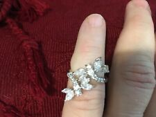 .925 Sterling Silver Double Dragonfly Cubic Zirconia Ring
