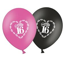 """Sweet 16 in Heart 12"""" Printed Black & Pink Assorted Latex Balloons Pack of 25"""