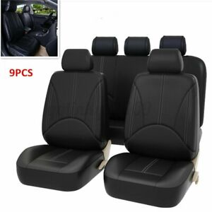 PU Leather Car Seat Cover Full Set Front Rear Seat Cushion Mat Protector Black