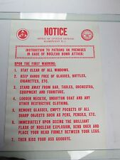 Vintage NOTICE NUCLEAR BOMB Attack War Poster Kiss Your Ass Goodbye Late 60s