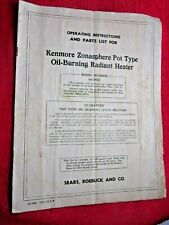 ANTIQUE KENMORE ZONASPHERE OIL-STOVE OPERATING INSTRUCTIONS & PARTS MANUAL