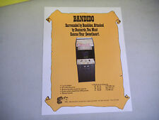 original BANDIDO  EXIDY     ARCADE VIDEO GAME  FLYER