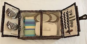 Picnic at Ascot Wicker Picnic Basket with Serving for Two Dark Brown