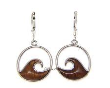925 Sterling Silver Hawaiian Koa Wood 17.5mm Ocean Wave Lever Back Earrings