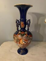 Japanese Blue Moriage handled vase Geisha hand painted with flaws but still nice