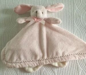 Blankets Beyond Pink White Bunny Security Blanket Lovey Zigzag Brown Stitching