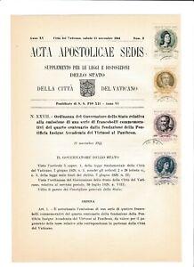 s39537 VATICANO ACTA APOSTLICAE SEDIS 11 11 1944 Accademia dei Virtuosi