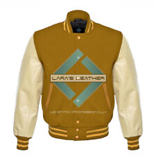 American College Letterman Varsity Camel Wool Jacket/Real Leather Sleeves XS-4XL