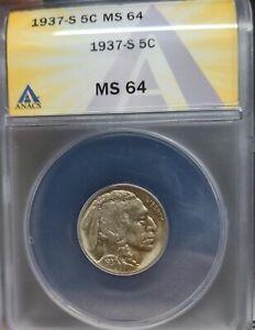 1937-S Buffalo Nickel ANACS MS64 Flashy Nickel! Original