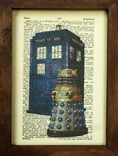 Vintage Dictionary Art Print, Doctor Who Tardis and Dalek, Dr Who Dalek
