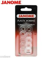 GENUINE JANOME PLASTIC BOBBINS X 10 IN PACKET FOR JANOME SEWING MACHINE