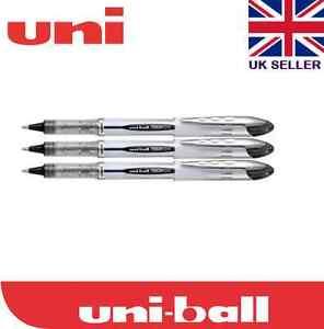 3 x Uni-ball Vision Elite UB-200 0.8mm Tip Rollerball Black Pen