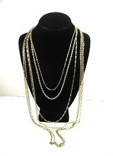 "MULTI STRAND 6  Vintage NECKLACE Variety Goldtone Chains 20"" - 60"" Lengths"