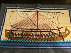 Vintage Embroidered Hand Sewn Tapestry Ancient Egyptians Rowing Boat 30 X 19