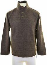 LEE Mens Button Neck Jumper Sweater Medium Brown Acrylic  HW04