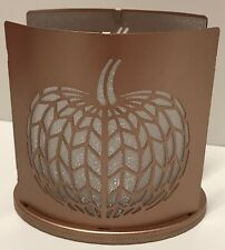 Yankee Candle Chevron Pumpkin Metal Votive Holder Fall Autumn New With Box