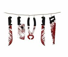 NEW BLOODY TORTURE WEAPON WINDOW HORROR DECORATION 1.8m HALLOWEEN BUNTING PARTY