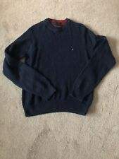 Mens Tommy Hilfiger Crewneck Cable Jumper Navy Size XS