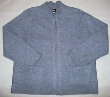 Eileen Fisher Mock Collar Full Zip Wool Jacket Blue Front Pockets L LARGE