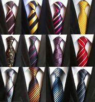 Mens New 100% Silk Striped Paisley JACQUARD WOVEN Wedding Tie Necktie