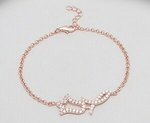 14k Rose gold Filled In 925 Solid Sterling Silver With CZ Stone bracelet
