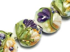 Grace Lampwork Beads Handmade Glass Bead SRA  10504502 - Seven White w/Purple Fl