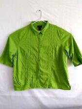Maggie Barnes Womens 26/28W 3X Green Cotton 3/4 Sleeve Button Shirt Blouse Top