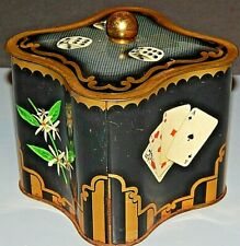 Vintage Litho Tea Tin Metal Canister Made in Germany Cards Dice Chess Coffee