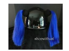 Custom Made Blue or Brown Helmet Pigtails ~ Motorcycle Skate Bike ~25% More Hair