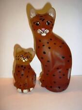 Fenton Glass AMBER SATIN LEOPARD CHEETAH MINI KITTEN & STYLIZED CAT Set QVC!