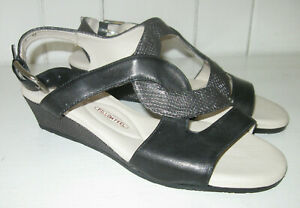 AMALFI by RANGONI Women's Morosa Black and Gray Leather Wedge Sandal Sz 7 M NEW