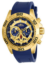 Invicta 21737 Men's Aviator Gold Tone & Blue Dial Blue Polyurethane Strap Watch