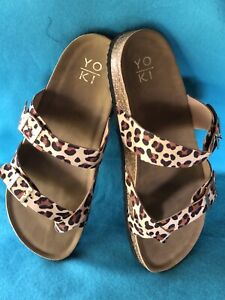 Sandals Yoki Shoes Womens Boutique Leopard Look Size 8 New Slip On
