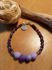 Purple agate & glass bead bracelet with heart charm ~ Hippy Reiki healing stone