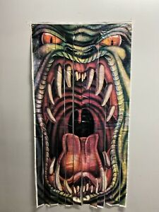 Vintage Scary Monster Mouth Open Halloween Curtain Home Door Party 35x69 D8