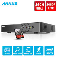 ANNKE 16CH 1080P Lite H.264+ CCTV DVR for Security Camera System Email Pic 0-4TB