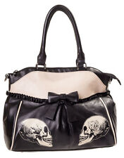 Banned Gothic Skull Roses Faux Leather Lace Shoulder Bag Handbag Halloween Black