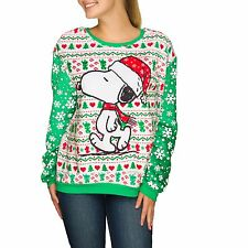 womens Large Snoopy Plush Pullover sweatshirt Christmas fairisle shirt new