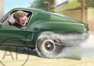 Bullitt Ford Mustang Caricature Art Print (A3)