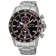 Seiko Solar Mens Sportura Chronograph Black Dial Stainless Watch SSC271